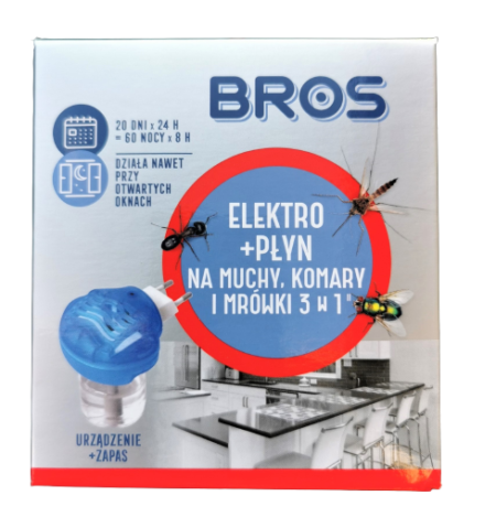 BROS elektro + płyn na muchy, komary i mrówki 3W1