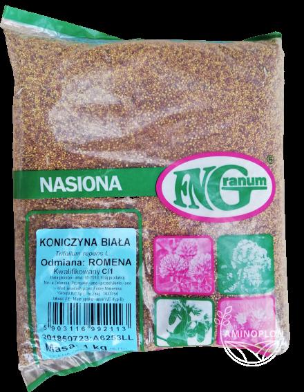Koniczyna biała Romena 1kg – roślina darniotwórcza, składnik paszy, na sianokiszonkę, na zielonkę