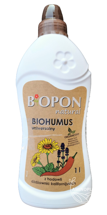 Biopon Natural Biohumus Uniwersalny 1L – poprawia właściwości gleby, wzbogaca w składniki pokarmowe